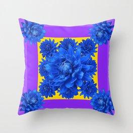 Purple Shades Pattern  Blue Dahlias Abstract Art Throw Pillow