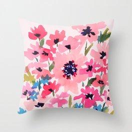 Peachy Wildflowers Throw Pillow