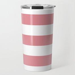 Ruddy pink - solid color - white stripes pattern Travel Mug