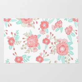 Girly Trend florals cute minimal modern painted flower bouquet colors of the year Rug