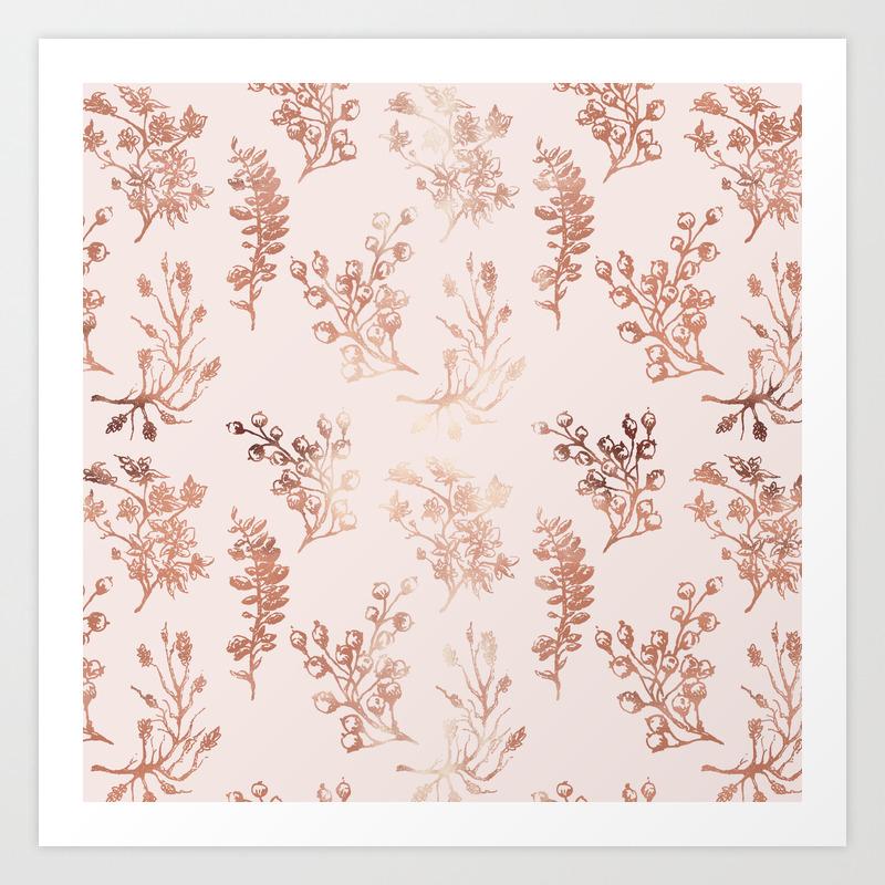 Modern Elegant Pink Rose Gold Floral Berries Pattern Art Print By