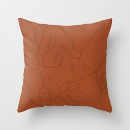 Fox cub with mother in orange Throw Pillow
