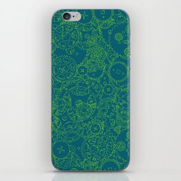 Clockwork Turquoise & Lime / Cogs and clockwork parts lineart pattern iPhone Skin
