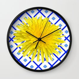 Yellow Dandelion Flower On Delft Blue Tile Wall Clock