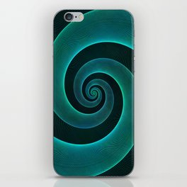 Magical Teal Green Spiral Design iPhone Skin