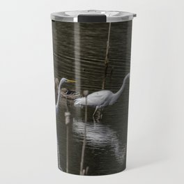 Three Great Egrets Among the Ducks, No. 1 Travel Mug
