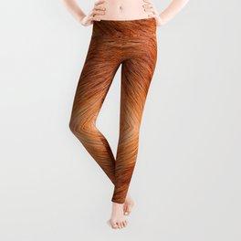 Red fox hairy fur texture cloth Leggings