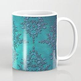 Turquoise Blue Damask Coffee Mug