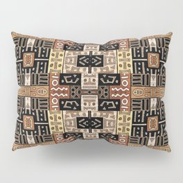 Runic Carved Wood Effect Tribal Pattern Pillow Sham