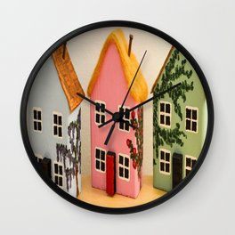 Cornish Cottages Wall Clock