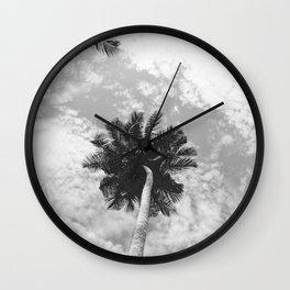 Palm Tree, San Blas Islands, Panama, Black & White Wall Clock