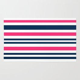 Horizontal , striped , pink , blue , white Rug