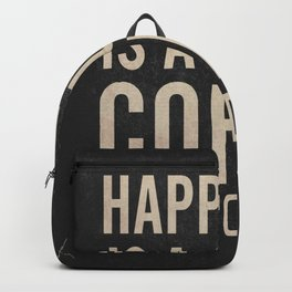 Happiness is a cup of coffee and a good book, vintage typography illustration, for libraries, pub Backpack