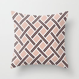 Modern Open Weave Pattern in Neutrals and Plums Throw Pillow