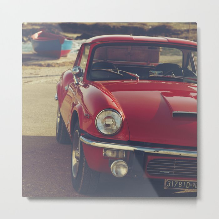 Triumph spitfire, english car by the beach in italy, old car and a boat, for man cave decor Metal Print