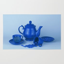 Blue tea party madness - still life Rug