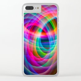 Spirograph rainbow light painting Clear iPhone Case