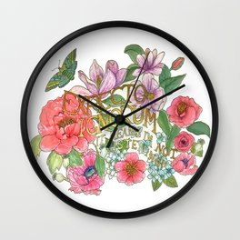 Spring Flowers and butterfly with Quote in latin Wall Clock
