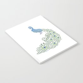 Jeweled Peacock on White Notebook
