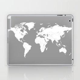 Minimalist World Map in Grey Laptop & iPad Skin