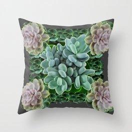 GARDEN OF GRAY-GREEN PINK SUCCULENTS Throw Pillow