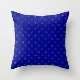 Brandeis Blue on Navy Blue Snowflakes Throw Pillow