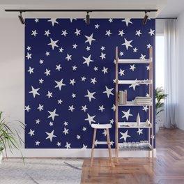 Stars - White on Navy Blue Wall Mural