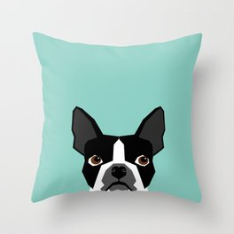 Logan - Boston Terrier pet design with bold and modern colors for pet lovers Throw Pillow