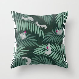 Palm Leaves & Squirrels Throw Pillow