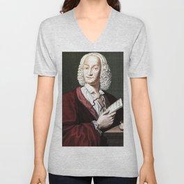 Antonio Vivaldi (1678-1741) by Morellon de la Cave in 1725 Unisex V-Neck