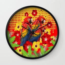 GREEN TROPICAL YELLOW MACAWS & RED YELLOW HIBISCUS Wall Clock
