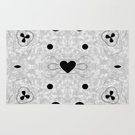 Black and Grey Multi Pattern with Heart design Rug