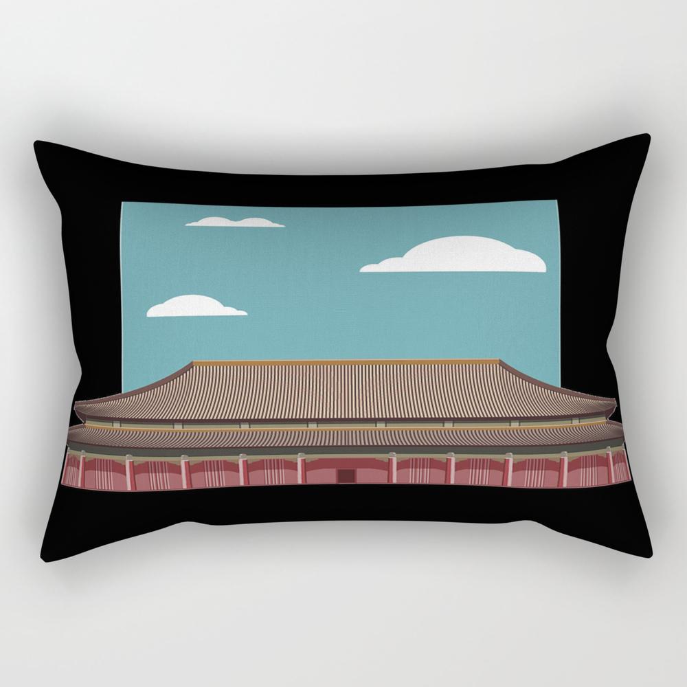 Chinese Building Illustration Rectangular Pillow RPW9031749