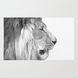 Black and White Lion Profile Rug