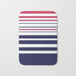 Striped red blue white Bath Mat