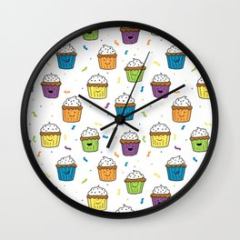 Cute Happy Fun Cupcakes with white background Wall Clock