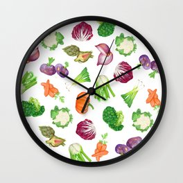Veggies illustrations pattern | Watercolor farm veggies | Vegan pattern Wall Clock