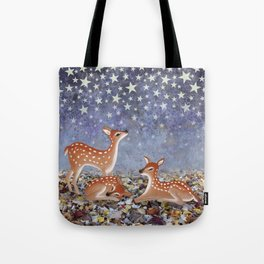 whitetail fawns under the stars Tote Bag