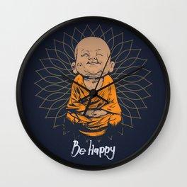 Be Happy Little Buddha Wall Clock