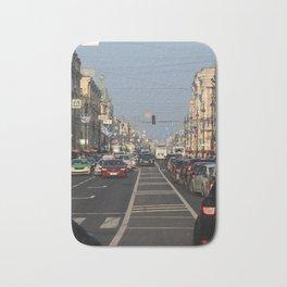 Cars traffic on Nevsky Prospect Bath Mat