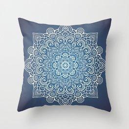 Mandala dark blue Throw Pillow