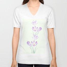 purple botanical crocus flowers Unisex V-Neck