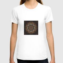 Rich Brown and Gold Textured Mandala Art T-shirt