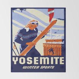 Yosemite Winter Sports Travel Throw Blanket