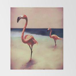Flamingo beach Throw Blanket