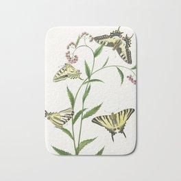 Four Butterflies on Flowers, 1747 Bath Mat