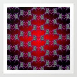 Bat Wing Heart Print by Xen™ Tattoo Design Art Print