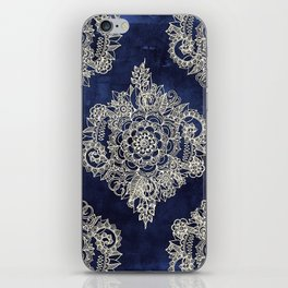 Cream Floral Moroccan Pattern on Deep Indigo Ink iPhone Skin