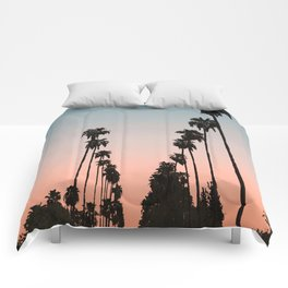 California Sunset // Palm Tree Silhouette Street View Orange and Blue Color Sky Beach Photography Comforters