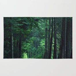 Train Rails in the Forest Rug